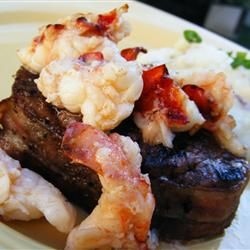 "Trying out this ""Lobster Colorado"" recipe on allrecipes.com. Basically: beef (the original recipe uses filet mignon- beef shank is going to have to do for tonight!) wrapped in bacon and topped with buttery lobster pieces. Surf and turf at its best."