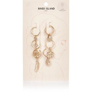 Gold tone embellished hair charms pack