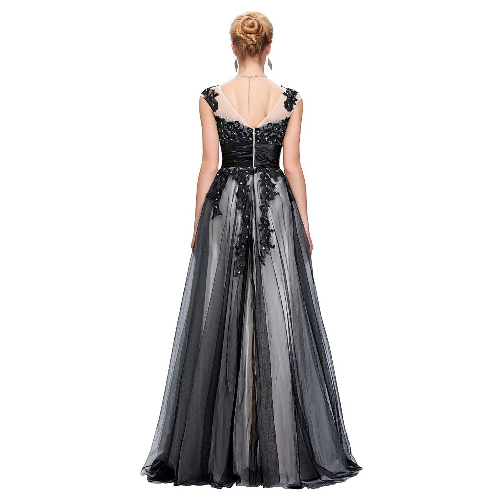 464c9375e4 Long Black Evening Dresses Elegant Soft Tulle Lace Night Party Gowns ...