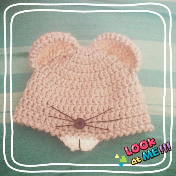 Gorro ratón bebe. Baby mouse hat   gorros bebé   Pinterest