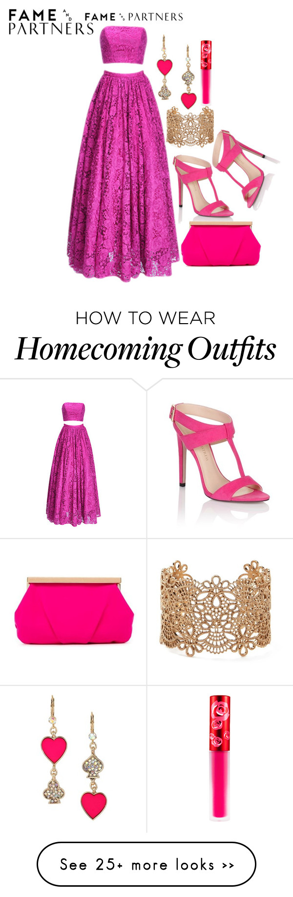 """""""Hello Homecoming with Fame & Partners: Contest Entry"""" by kitten89 on Polyvore featuring Fame & Partners, Betsey Johnson, Lime Crime, Forever 21, Lipsy and Trina Turk LA"""
