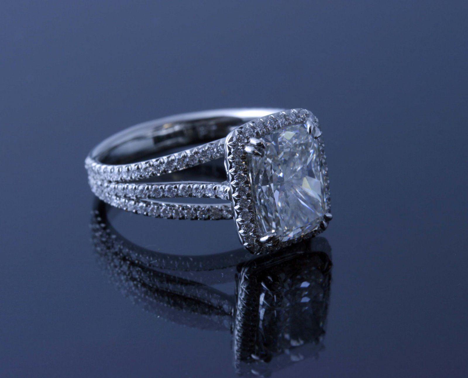 Radiant Cut Diamond Triple Split Shank Platinum Ring