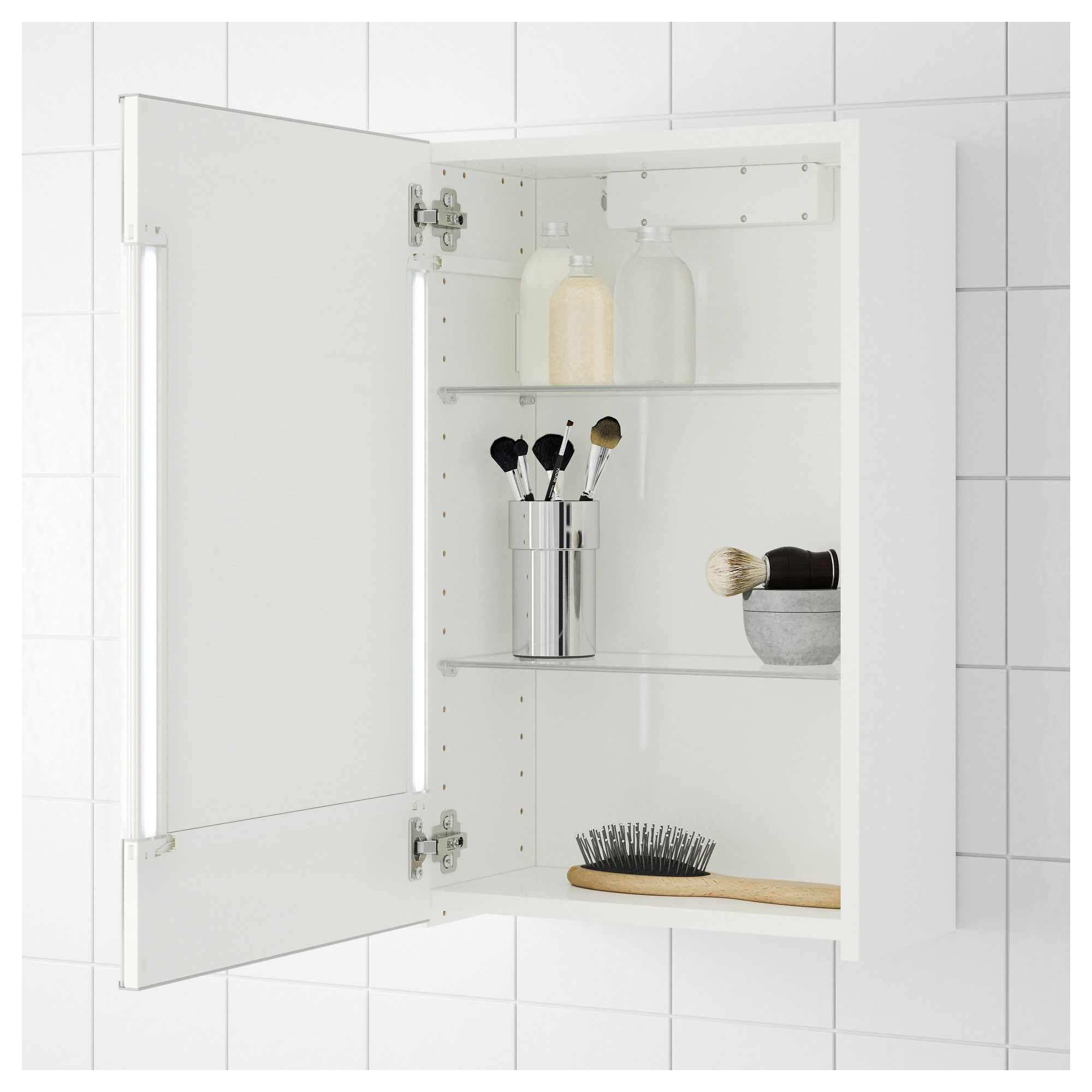 IKEA - STORJORM Mirror cabinet w/1 door & light white | Pinterest