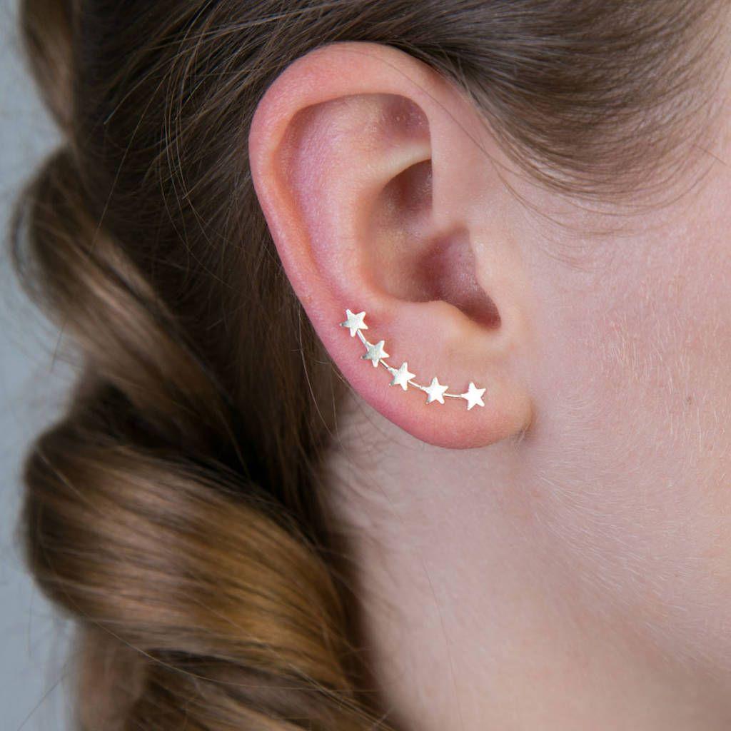 High nose piercing  Mini Star Silver Crawler Earrings  Star earrings Star and Minis