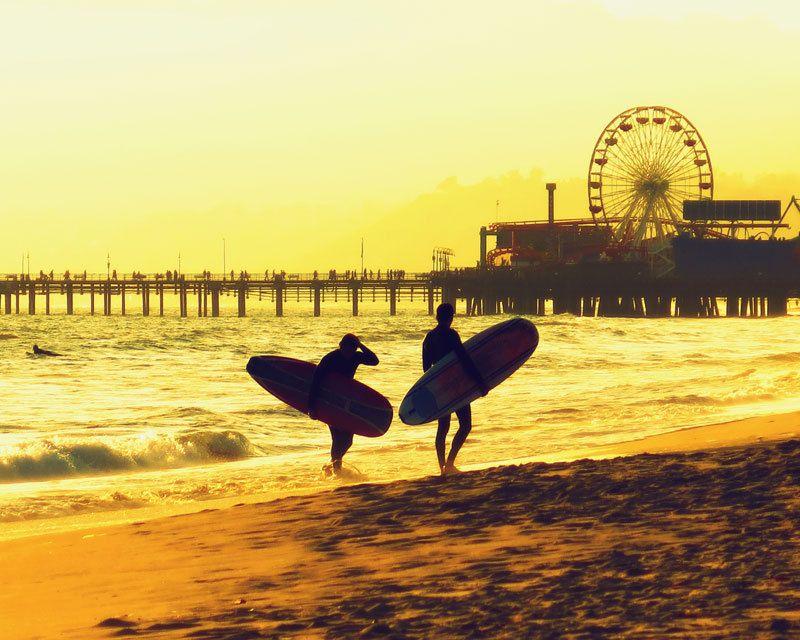 Surfers Santa Monica Beach Pier Ferris Wheel Lifeguard