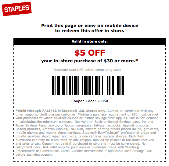 photo relating to Staples Printable Coupon identify $5 off $30 Staples Printable Coupon Printable Coupon codes