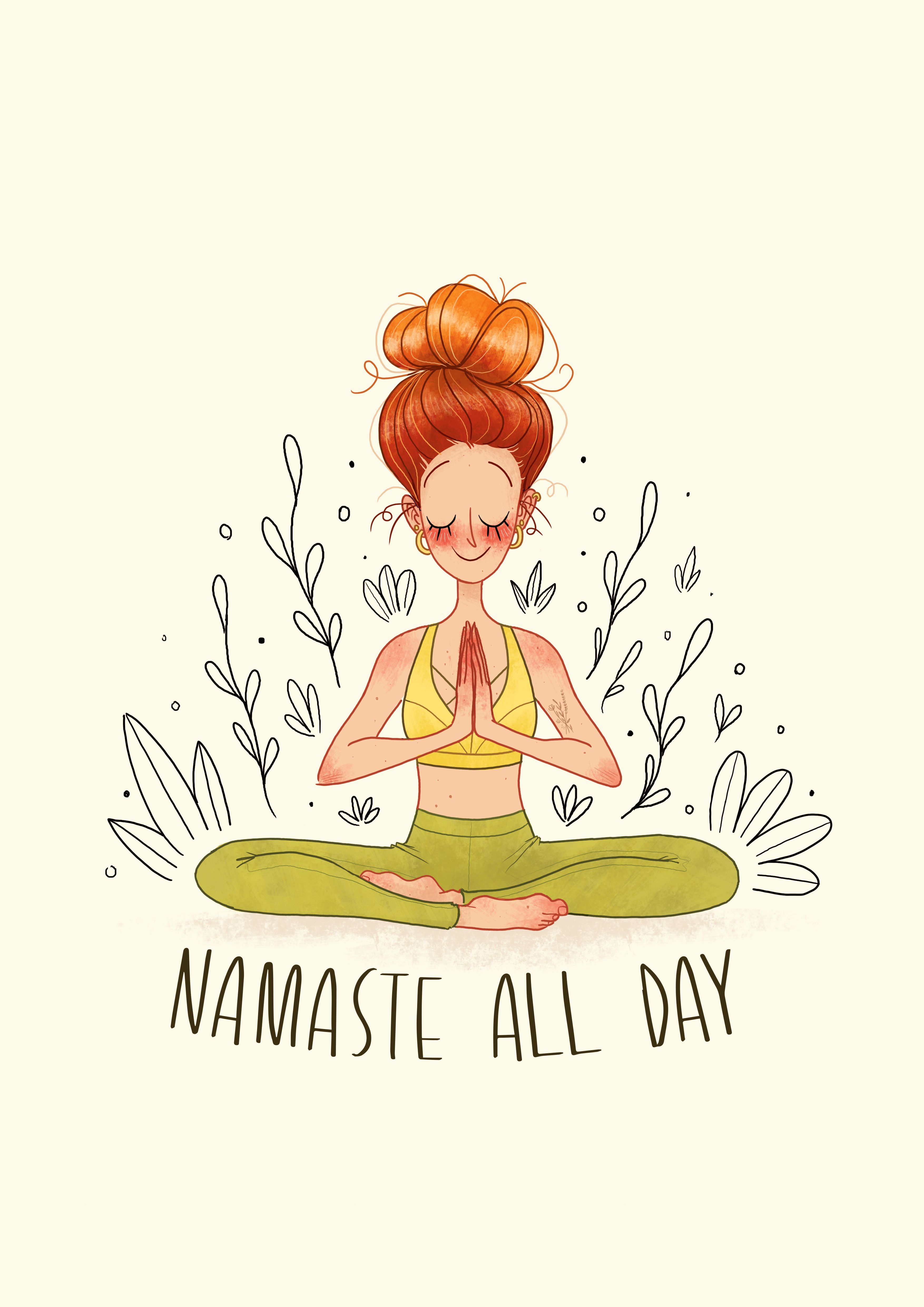 Namaste All Day Yoga Illustration By Cacotte Https Cacotte