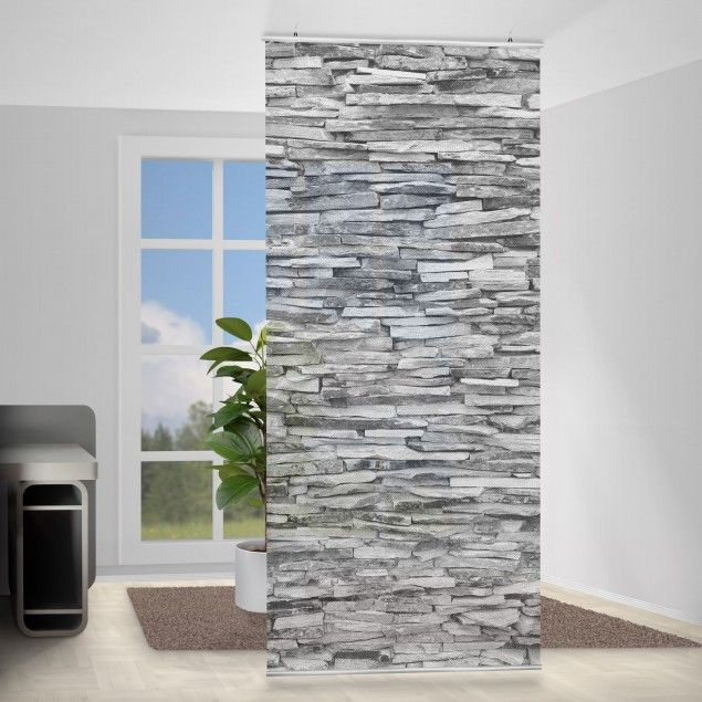 Raumtrenner Diy Raumteiler - Arizona Stonewall 250x120cm | Black & White