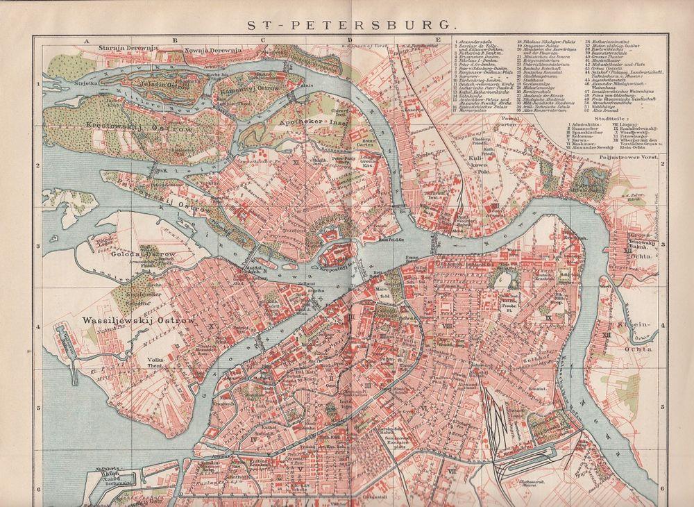 Details Zu 1895 Original Landkarte Stadtplan City Map St
