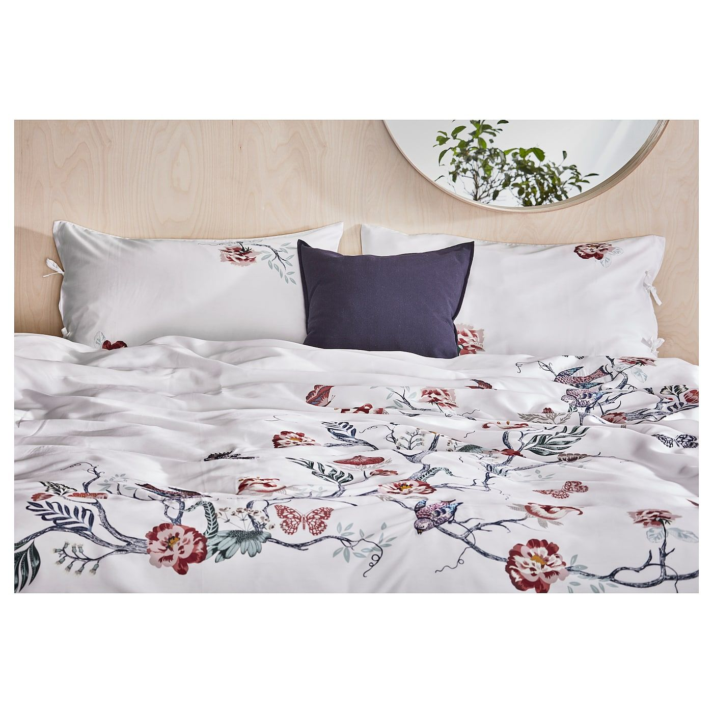 JÄTTELILJA Duvet cover and pillowcase(s) white, floral