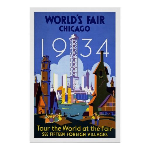 PW0 vintage 1933 CHICAGO WORLD/'S FAIR EXPOSITION poster 24X36 PRIZED rare NEW!