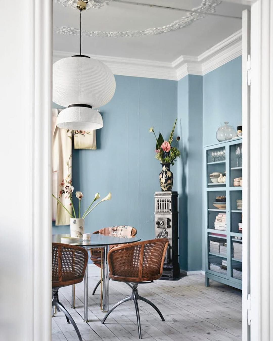 Eclectic Vintage Dining Room Decor With Muted Dusty Blue Wall