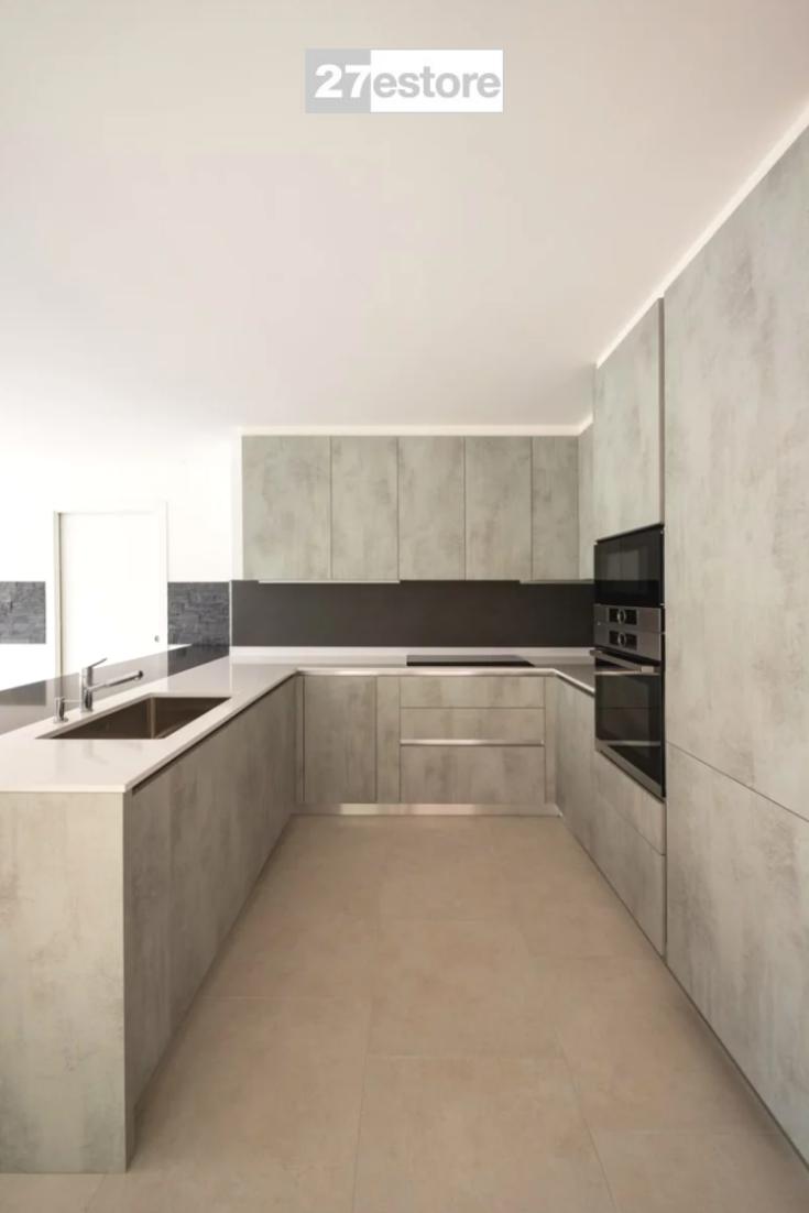 Concrete Light Grey Textured In 2020 Modern Kitchen Apartment Minimalist Kitchen Cabinets Modern Kitchen