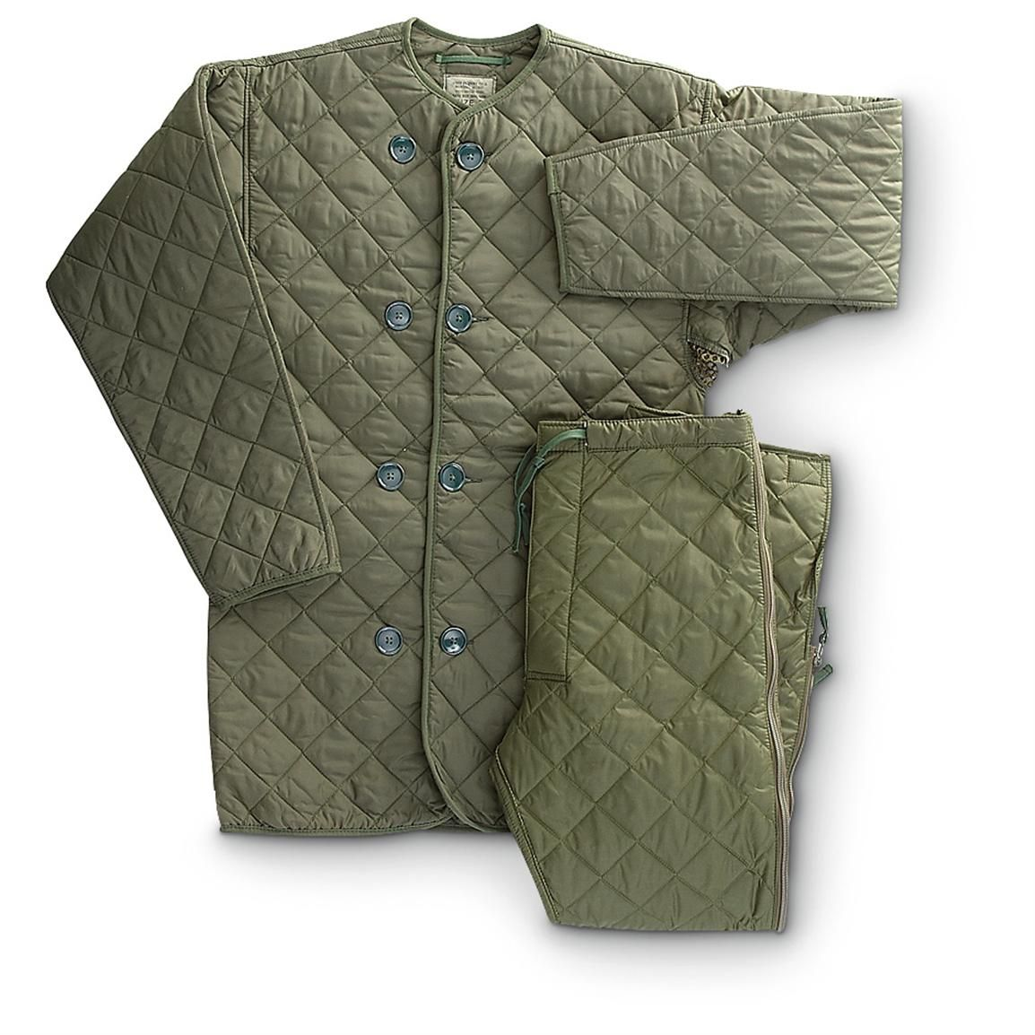 New British Military Surplus Quilted Liner Set, Olive Drab ... : quilted liner - Adamdwight.com