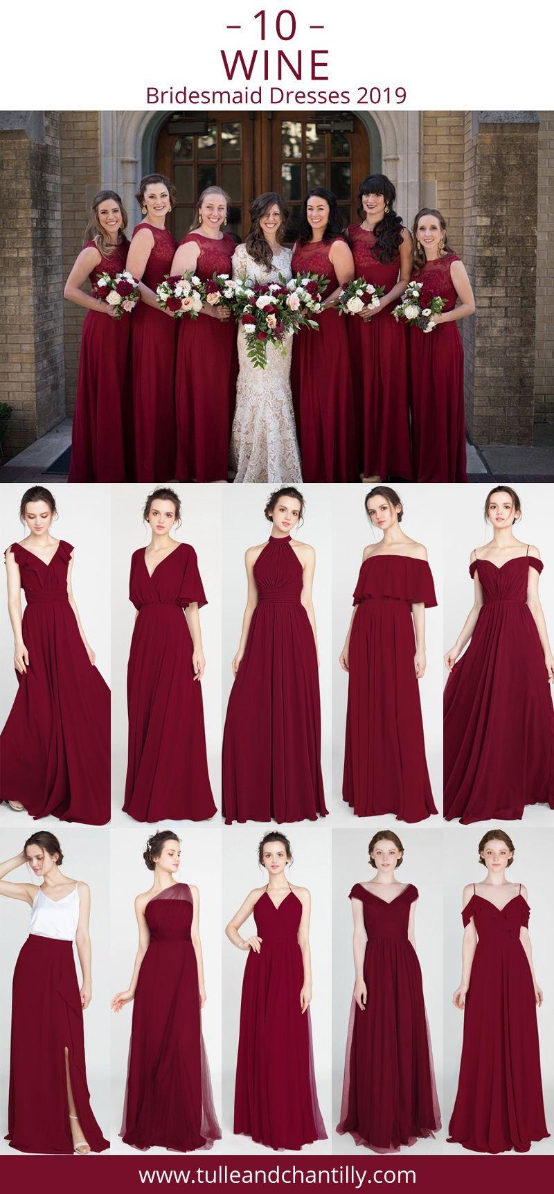 Top 10 Wine Bridesmaid Dresses For Wedding Season 2019 Wedding Weddinginspiration Wine Bridesmaid Dresses Fall Bridesmaid Dresses Winter Bridesmaid Dresses