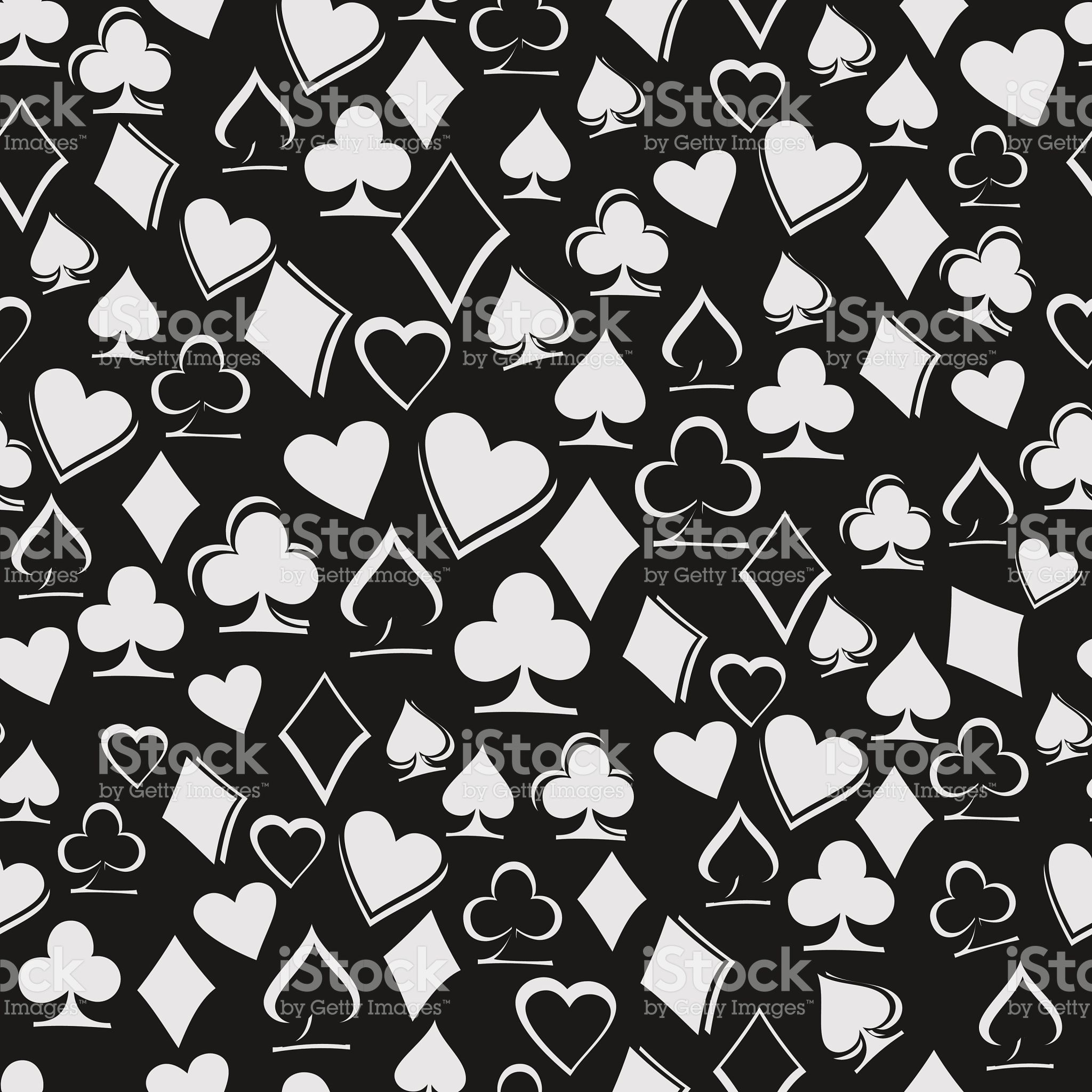 Playing Card Suits On Black Background Seamless Pattern