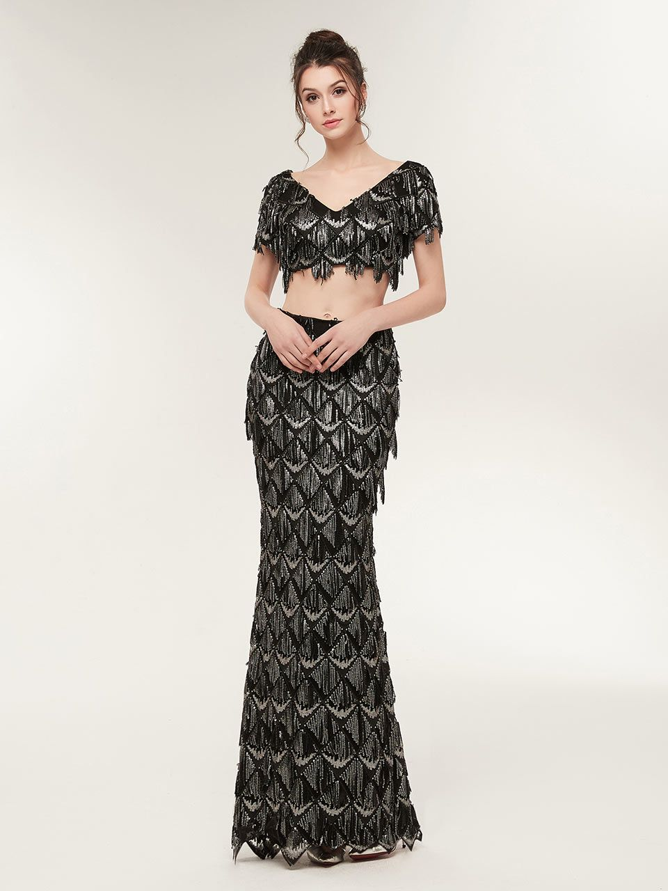 Mermaid black prom dressesblack sequin prom dressestwo piece black