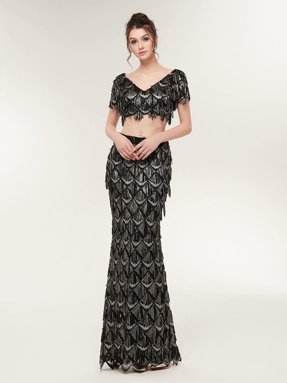 Mermaid black prom dressesblack sequin prom dressestwo piece black