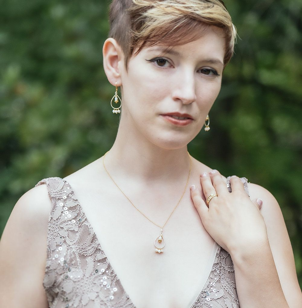 Wedding Jewelry • 24kt Gold Vermeil, Sterling Silver, Mother of Pearl • Photo credit Jimmy ienner Jr. (ienner.com)