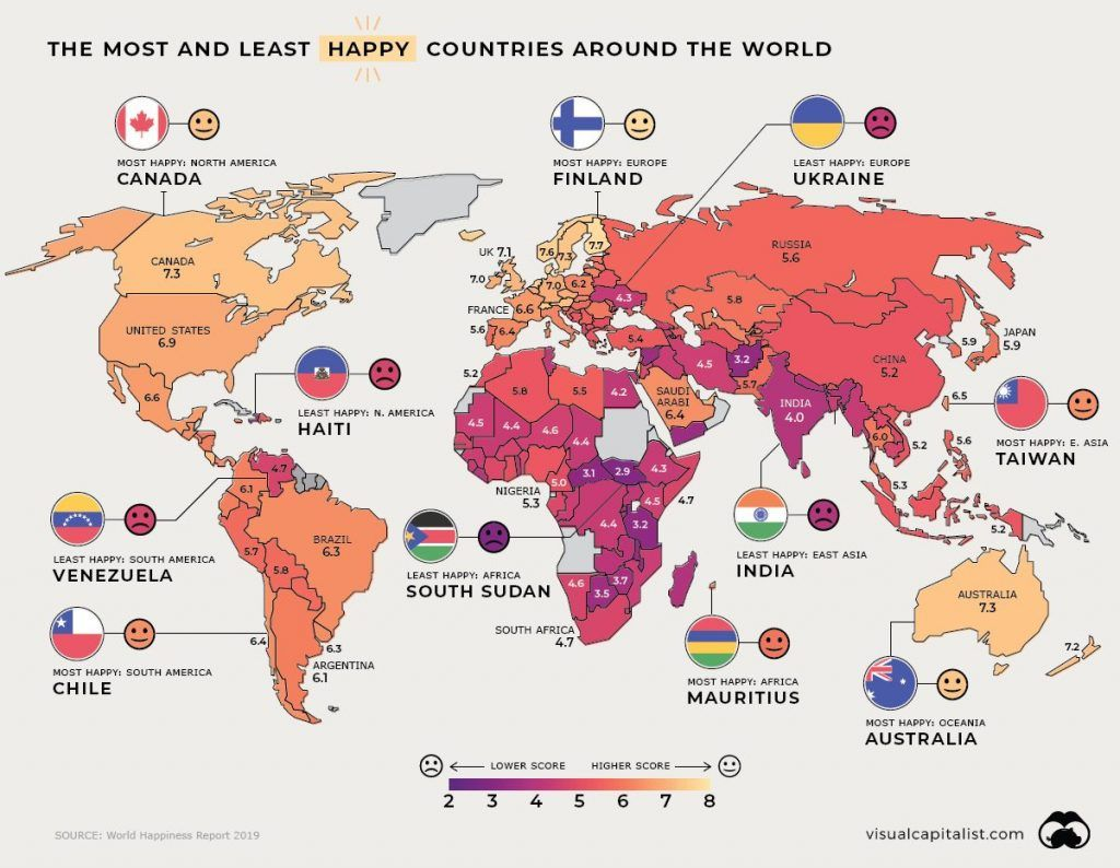 The most and least happy countries around the world (2019 ...