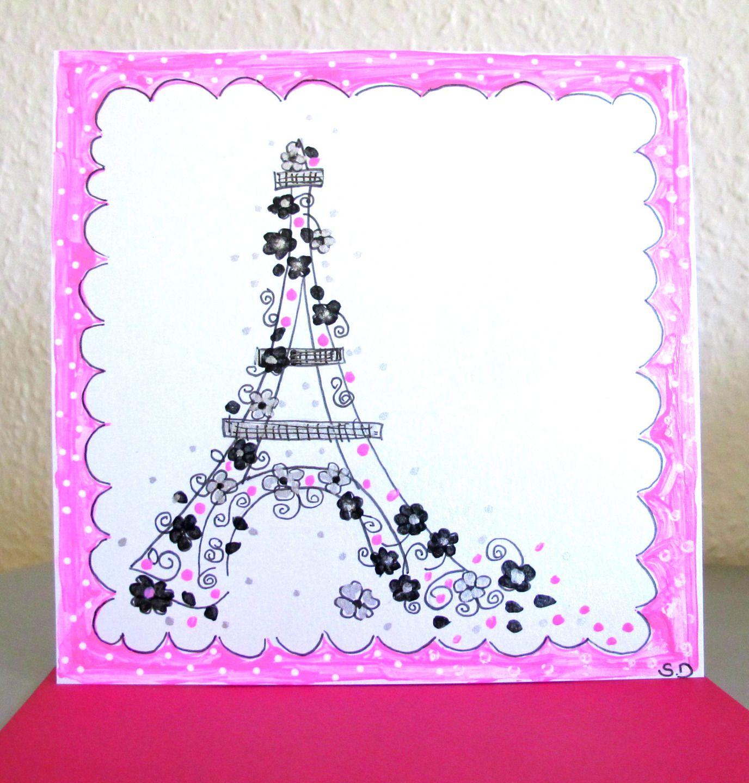 Carte Peinte A La Main Carte Originale Paris Carte Rose Noir Carte Anniversaire Carte Anniversaire Cartes Roses Carte