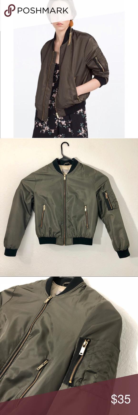 Zara Basic Outerwear Dark Green Bomber Jacket S Zara Green Bomber Jacket Zara Basics [ 1740 x 580 Pixel ]