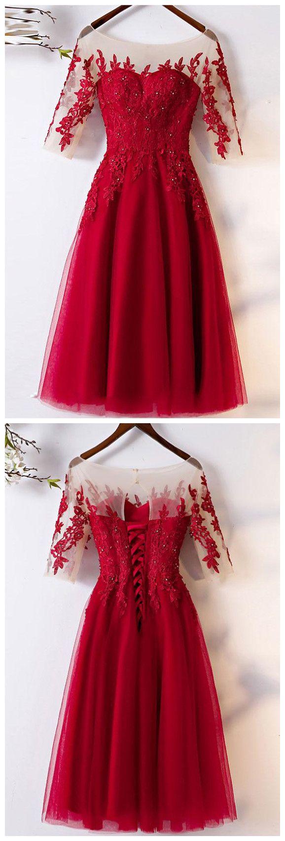 Tulle round neck prom dresstea length half sleeves anne