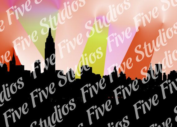 Cityscape Sunset  Desktop Wallpaper by FiveFiveDesigns on Etsy, $1.99