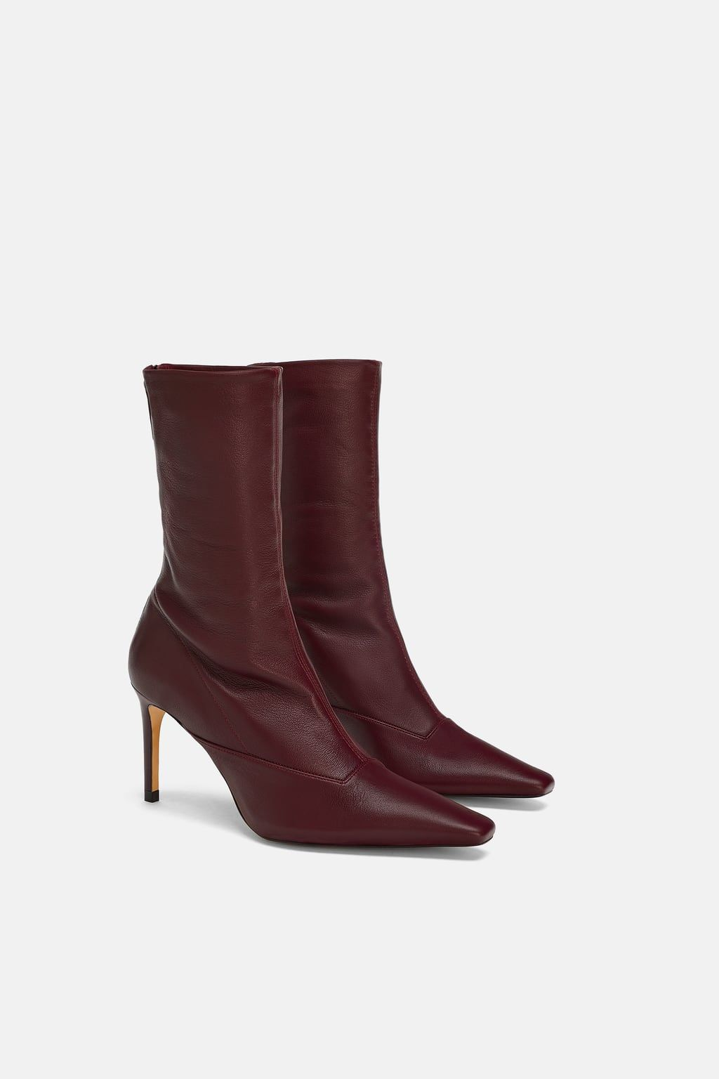 bda17597f998f Image 3 of LEATHER HEELED ANKLE BOOTS from Zara