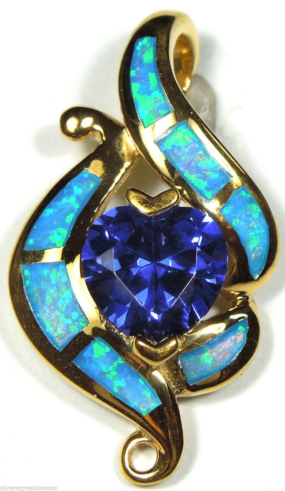 Gold plated heart tanzanite blue fire opal inlay 925 sterling gold plated heart tanzanite blue fire opal inlay 925 sterling silver pendant ebay aloadofball Gallery