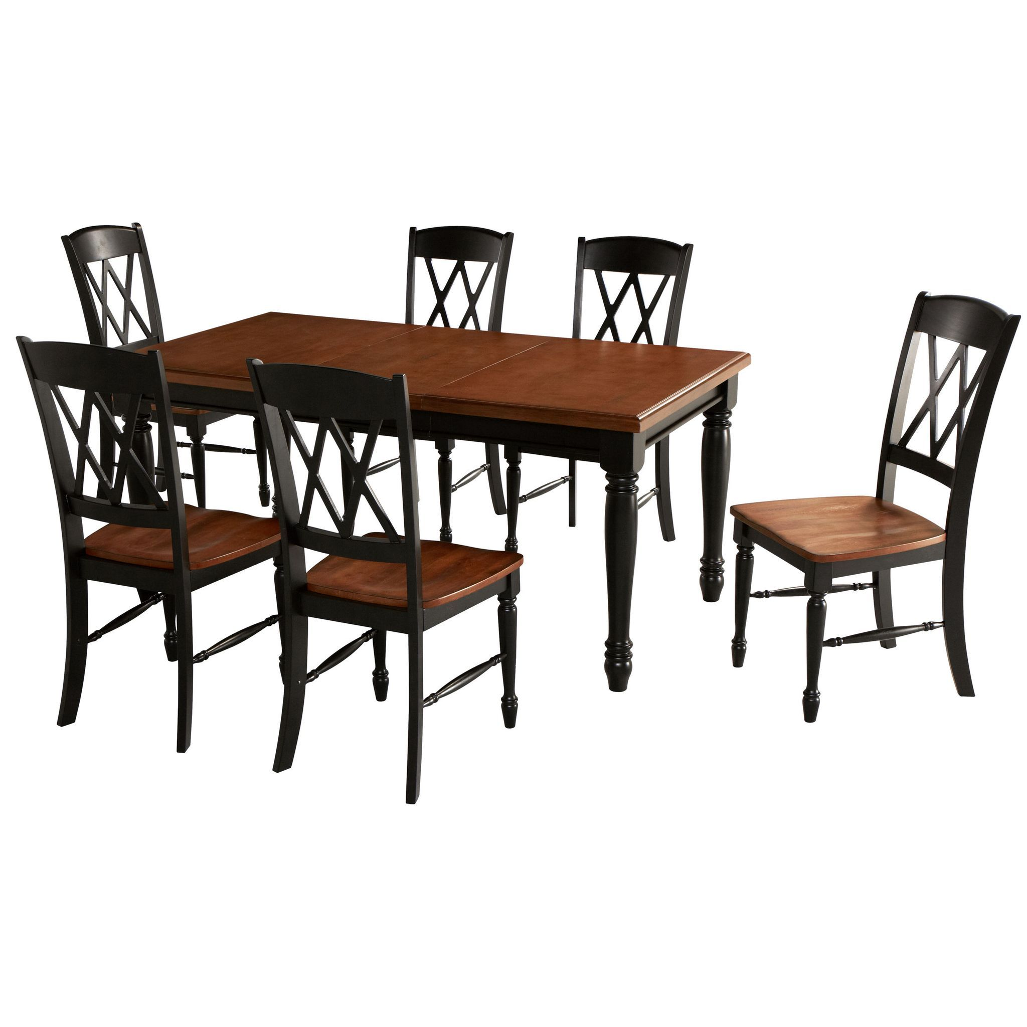 7 Piece Dining Set In Black And Oak Finish Dhp Worldwide Outlet