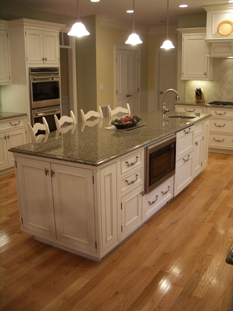 White cabinets gourmet kitchen big island eating island microwave drawer built in microwave - Kitchen images with white cabinets ...