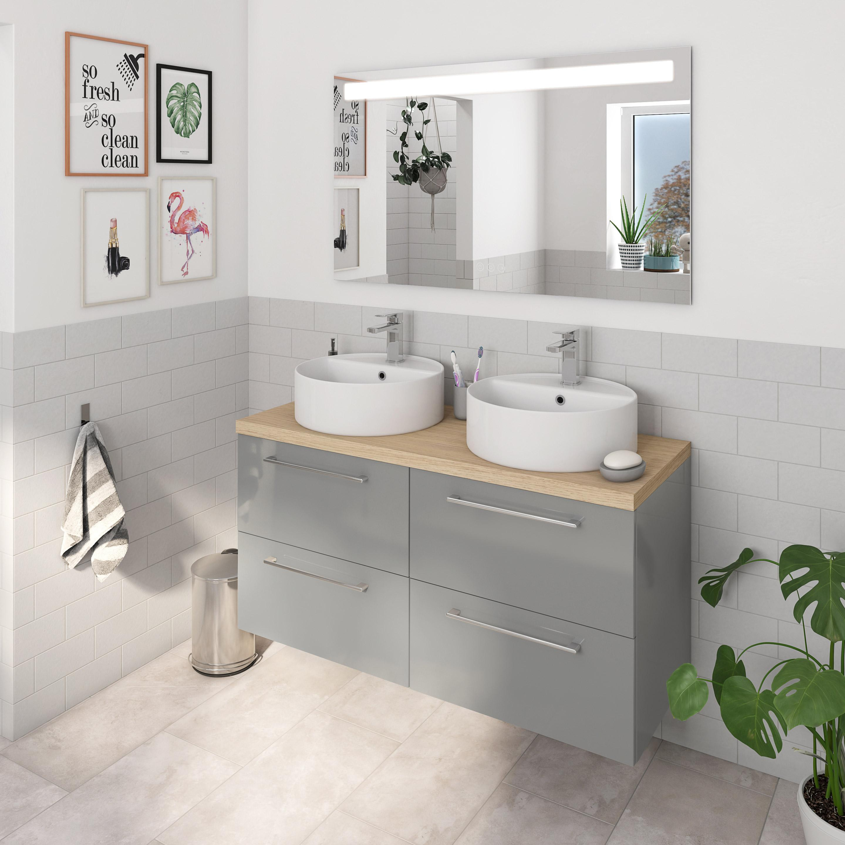 Meuble Vasque Leroy Merlin meuble double vasque l.120 x h.58 x p.48 cm, gris, remix en