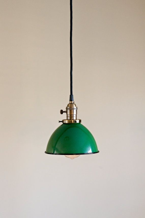 green vintage industrial porcelain enamel metal dome pendant light fixture bureaux pinterest. Black Bedroom Furniture Sets. Home Design Ideas