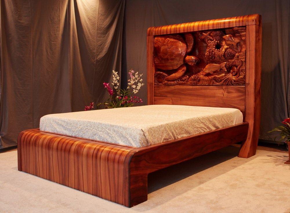 Koa Bed Right Profile Carved Headboard Wood Beds Bedroom Bed Design