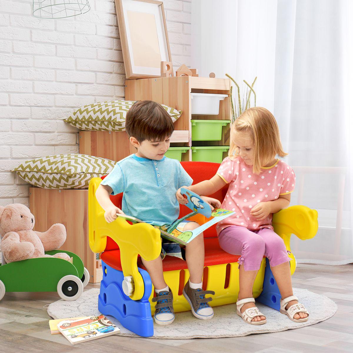 Costway 3 in 1 Set tavolo e sedia per bambini 3-7 anni in ...