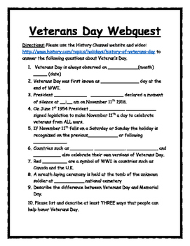 Veterans day webquest students and social studies utilize the history channels video and description of armistice day students will get an excellent overview of the holiday by answering 10 fill in the fandeluxe Images