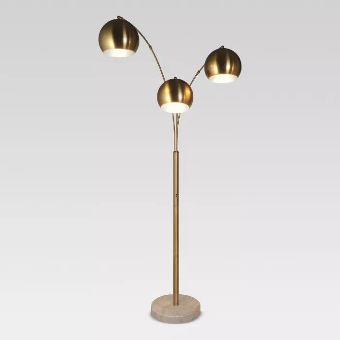 Span 3 Head Metal Globe Floor Lamp Brass Includes Energy