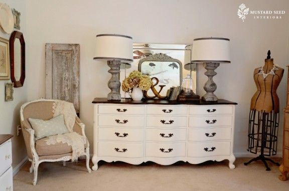 two lamps with dresser