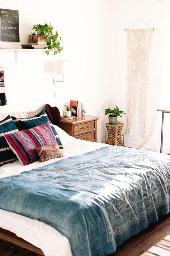 Bohemian Charm Meets Mid Century Modern Bedroom Love The Indigo