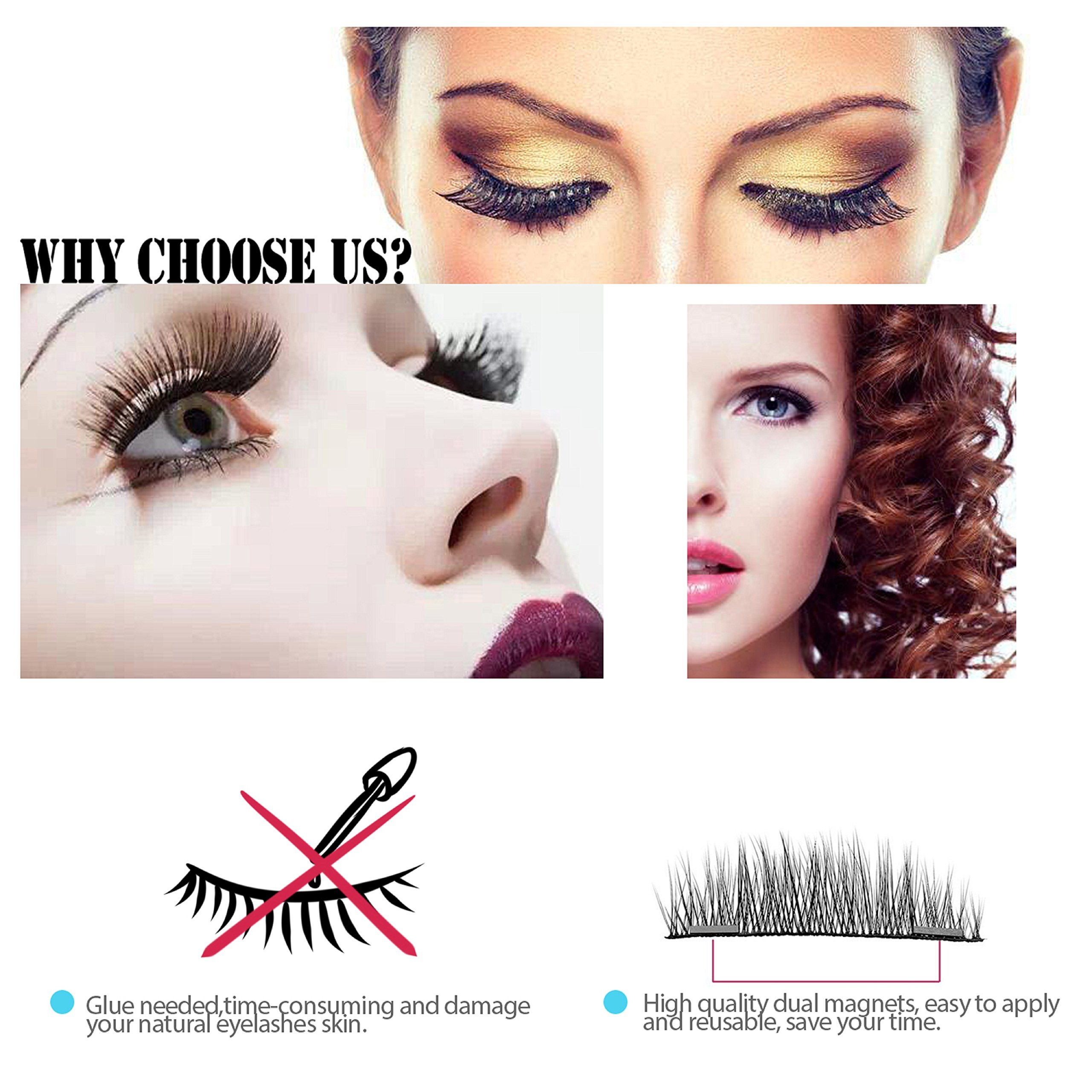 6b60a57c792 Verfanny Magnetic Eyelashes No Glue 3D Reusable False Eyelashes Set for  Natural Look Best Fake Lashes