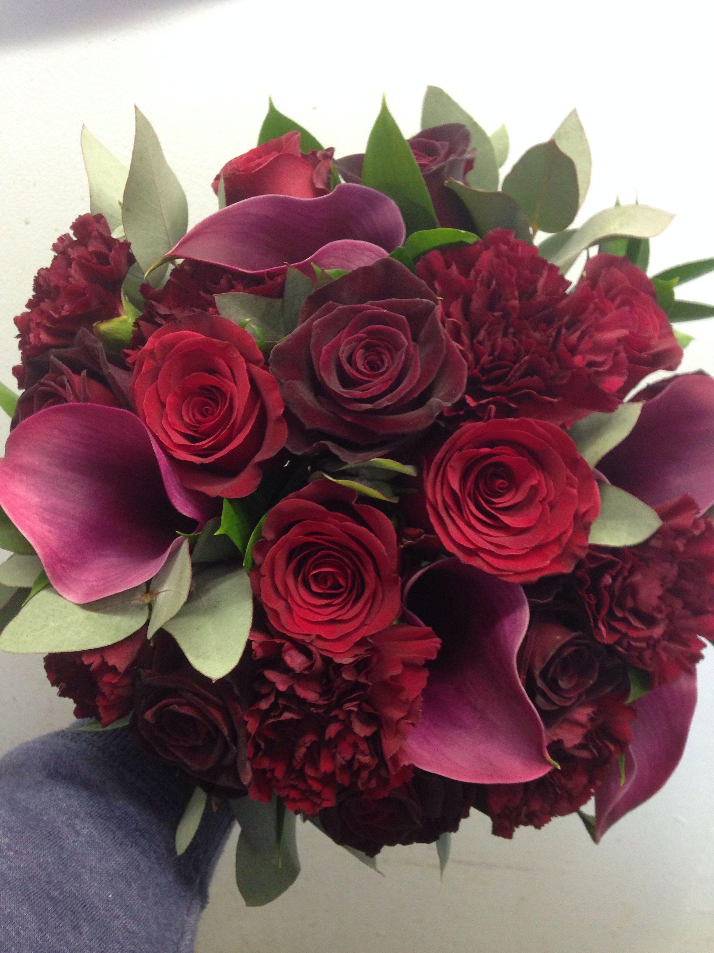 All Burgundy Flowers bouquet, Wedding bouquets, Flower