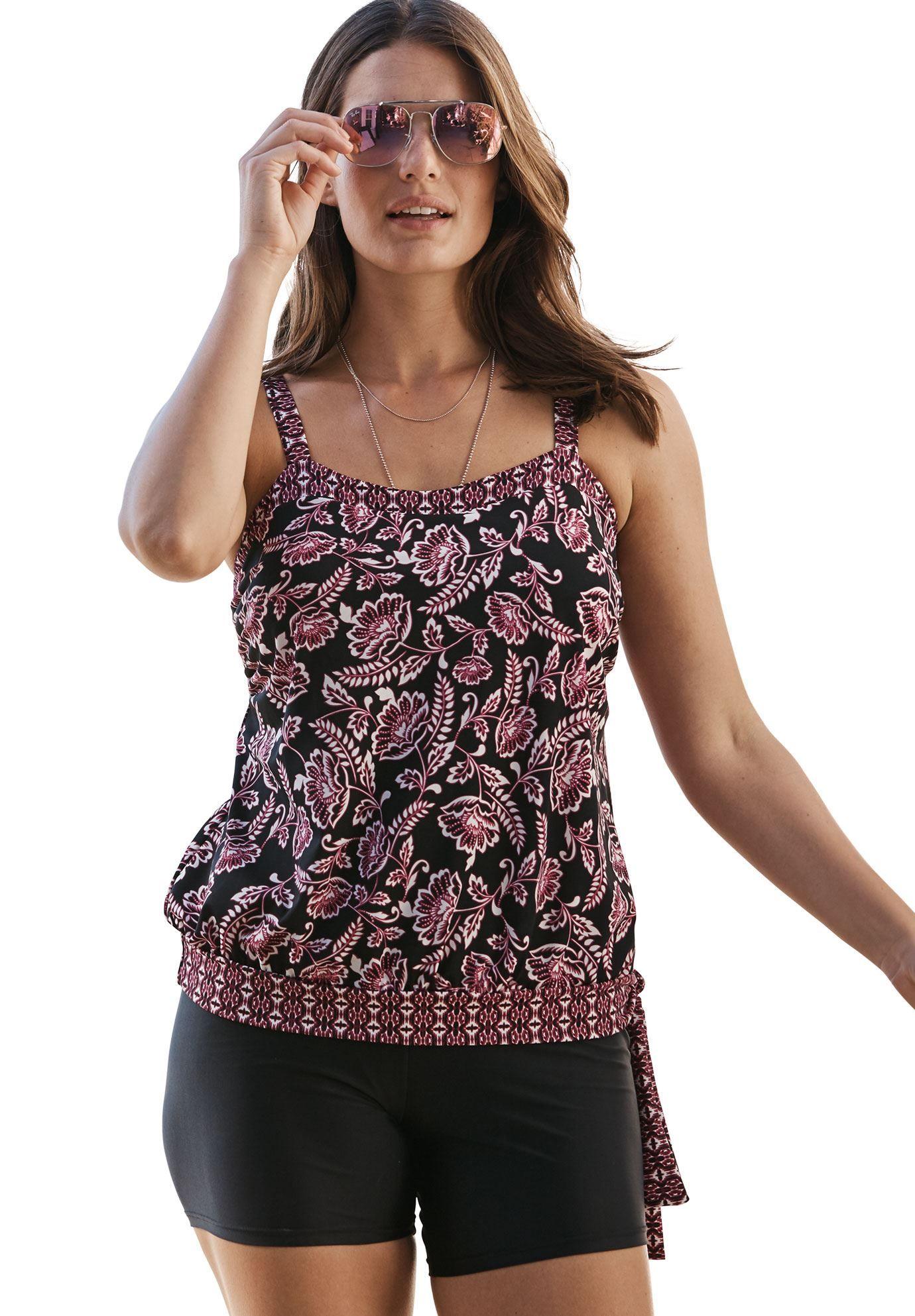 bc8dfea0786 Side-tie tankini top with blouson by Swim 365 - Women's Plus Size Clothing