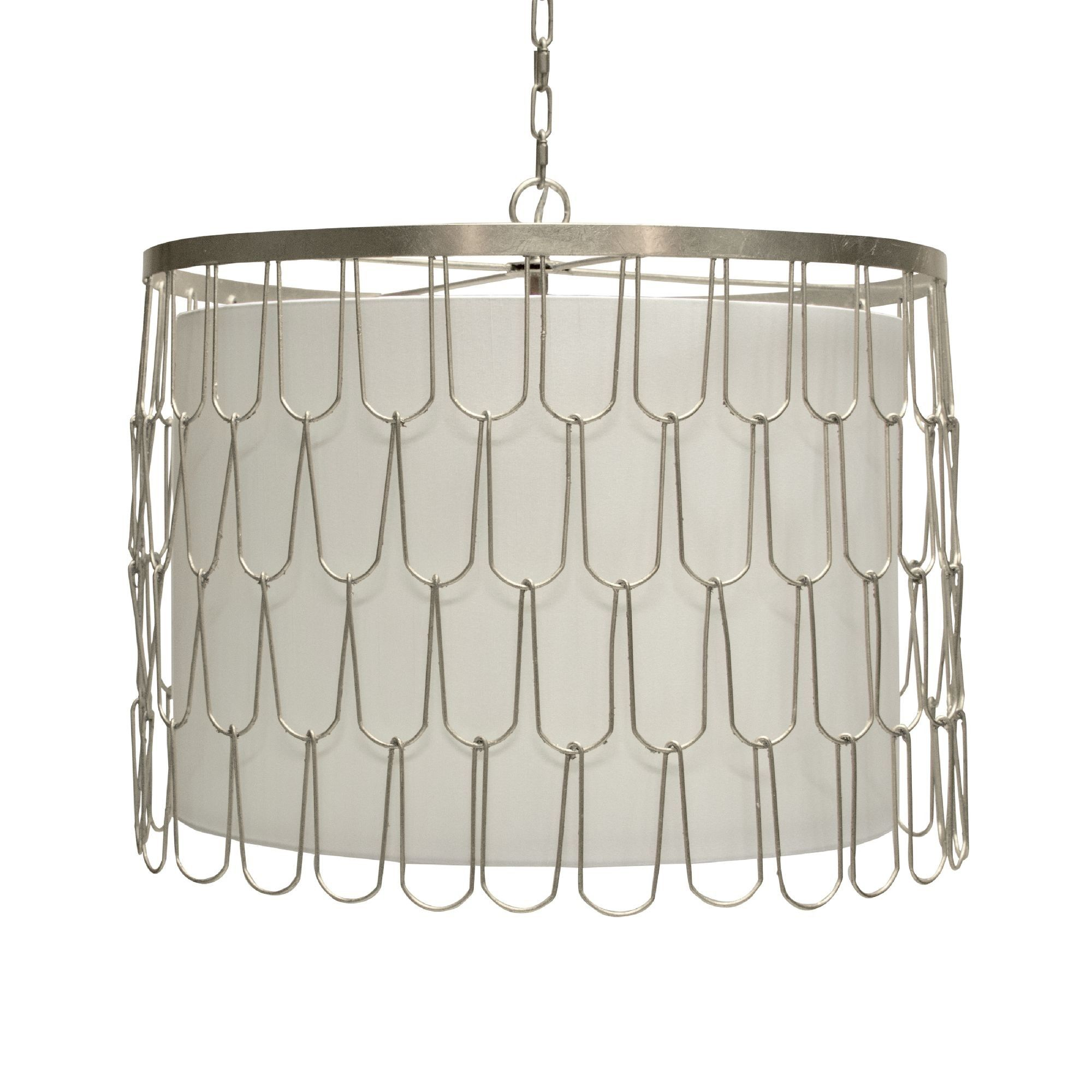 Silver leaf wire pendant with interior shade and diffuser ...