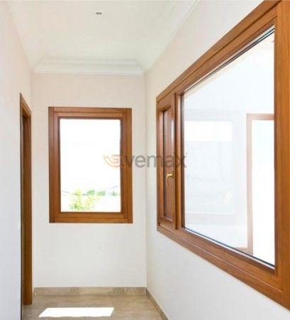 Madera aluminio hoja recta ventana para cocina home for Ventanas de aluminio para cocina