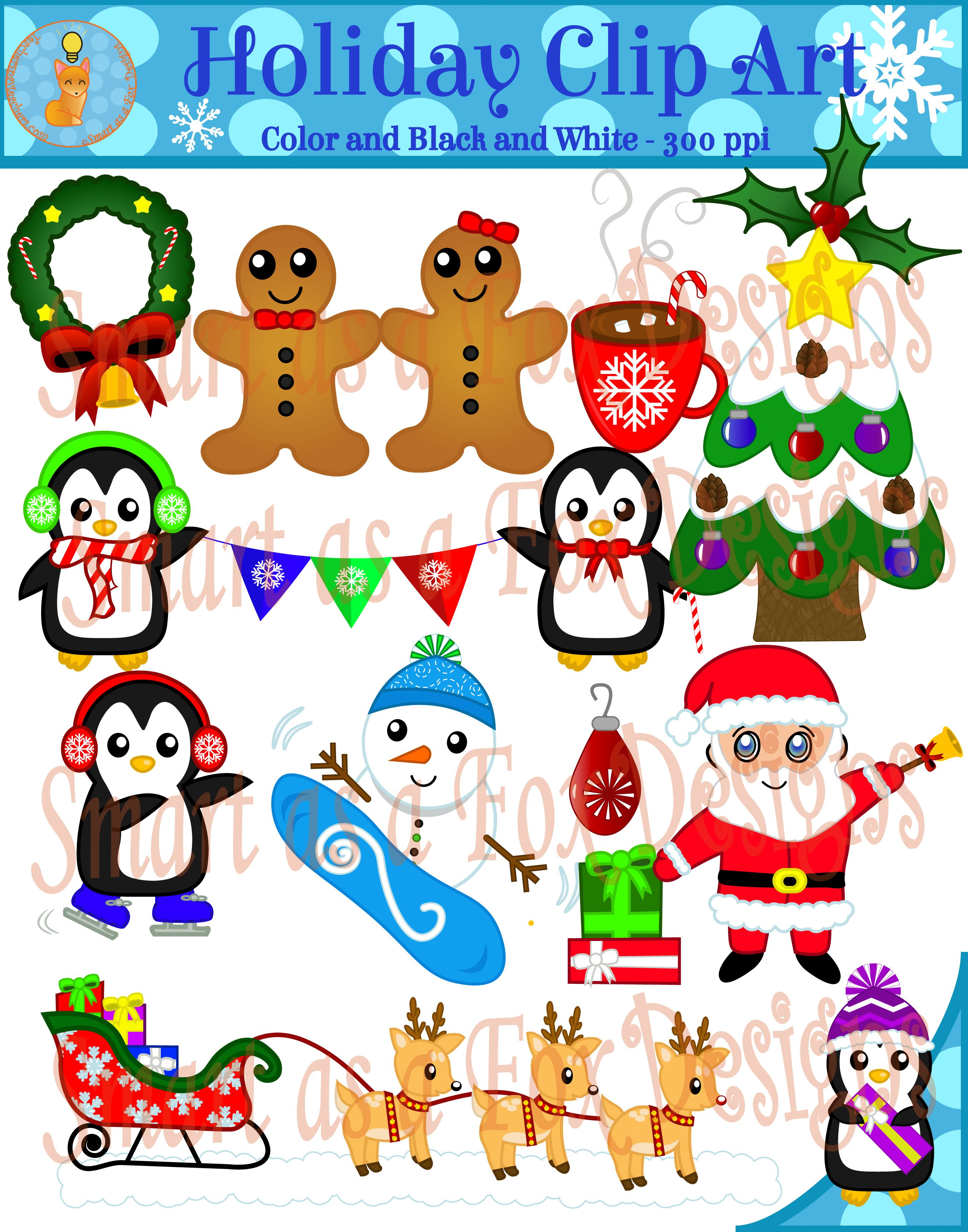 medium resolution of  winter christmas holiday clipart by smart as a fox designs this collection contains