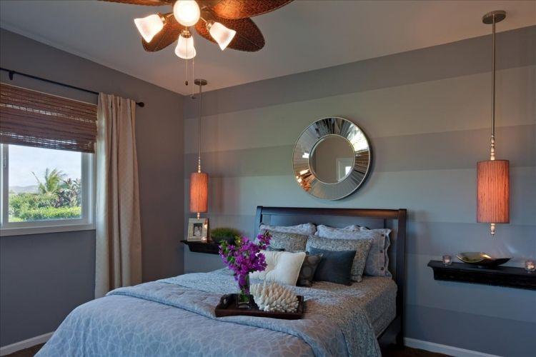 wand-streifen-schlafzimmer-grau-nuance-horizontal Wandgestaltung - wand streifen