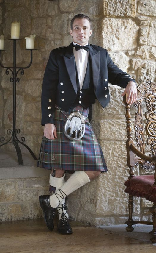 Classic Prince Charlie Kilt Outfit, with Clan accessories. Scotweb