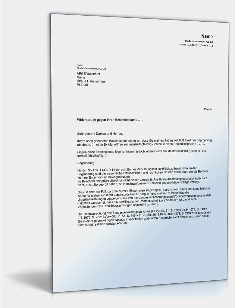 Widerspruch Uberzahlung Alg Ii Vorlage Zum Download 5