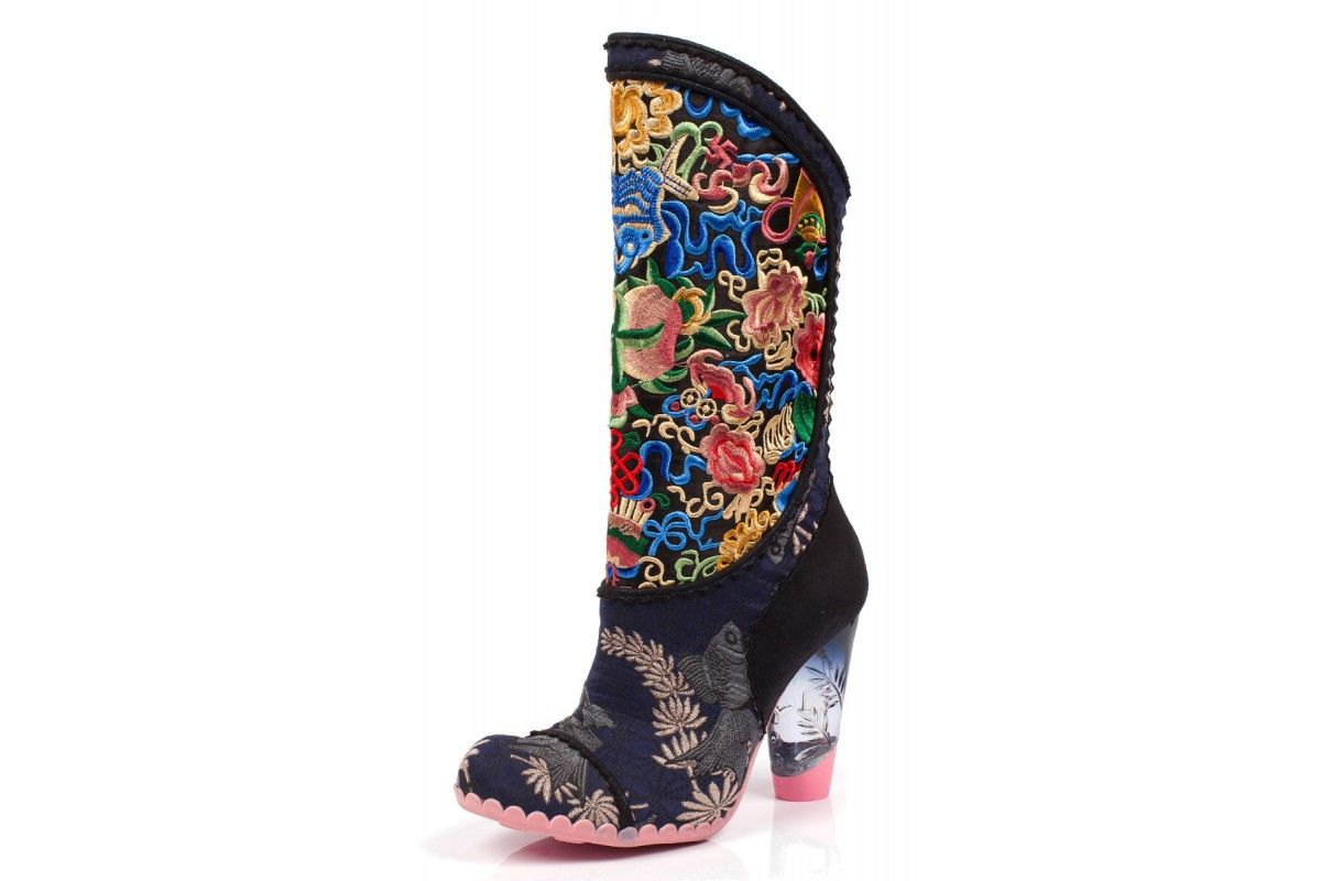 99f28213db0ce Irregular Choice Hiccup Navy Floral Embroidered High Heel Calf Boots ...